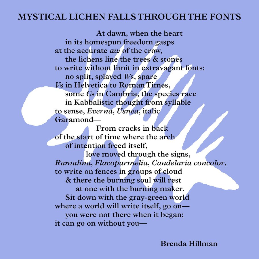 """Mystical Lichen Falls Through the Fonts"", <i>Seasonal Works with Letters on Fire</i> (Middletown: Wesleyan University Press, 2013) p. 92.<br><br>https://goo.gl/MSdosg"