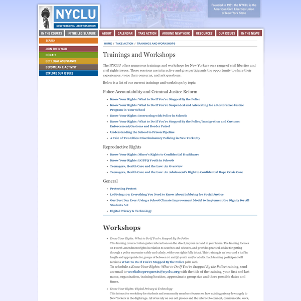 Trainings and Workshops | New York Civil Liberties Union (NYCLU) - American Civil Liberties Union of New York State