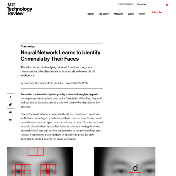 """Soon after the invention of photography, a few criminologists began to notice patterns in mugshots they took of criminals. Offenders, they said, had particular facial features that allowed them to be identified as law breakers. One of the most influential voices in this debate was Cesare Lombroso, an Italian criminologist, who believed that criminals were """"throwbacks"""" more closely related to apes than law-abiding citizens."""