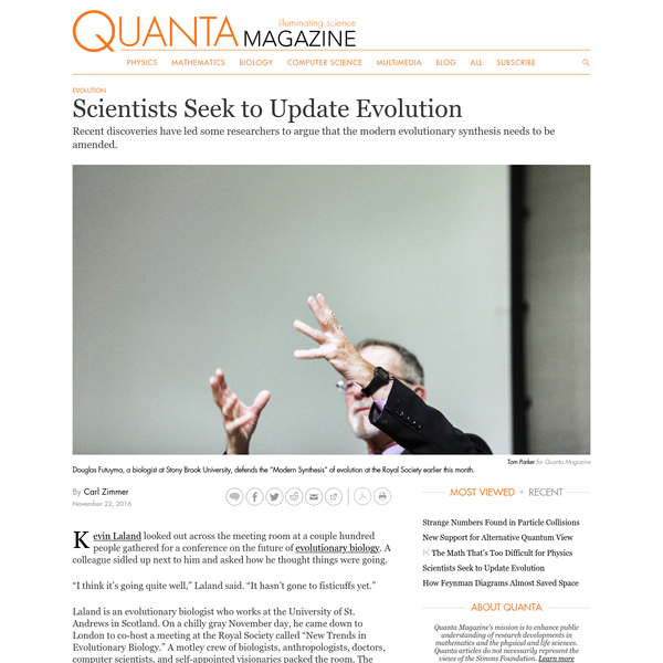 Scientists Seek to Update Evolution | Quanta Magazine