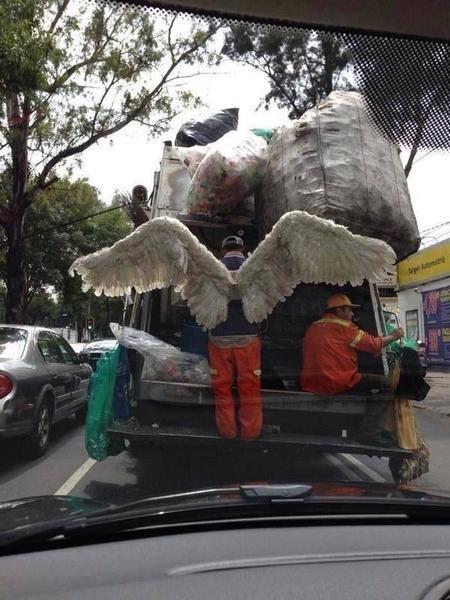 garbage man angel wings