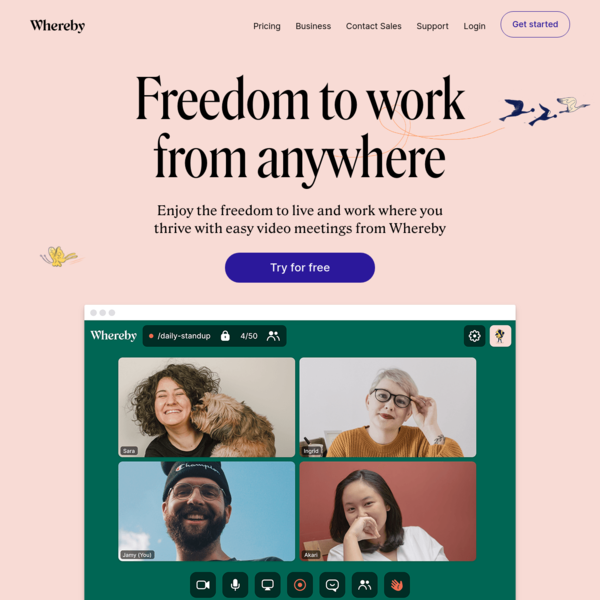 Whereby - Video Meetings, Video Conferencing and Screen Sharing