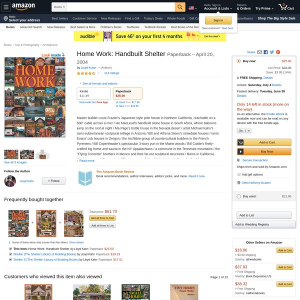 Home Work: Handbuilt Shelter: Kahn, Lloyd: 9780936070339: Amazon.com: Books