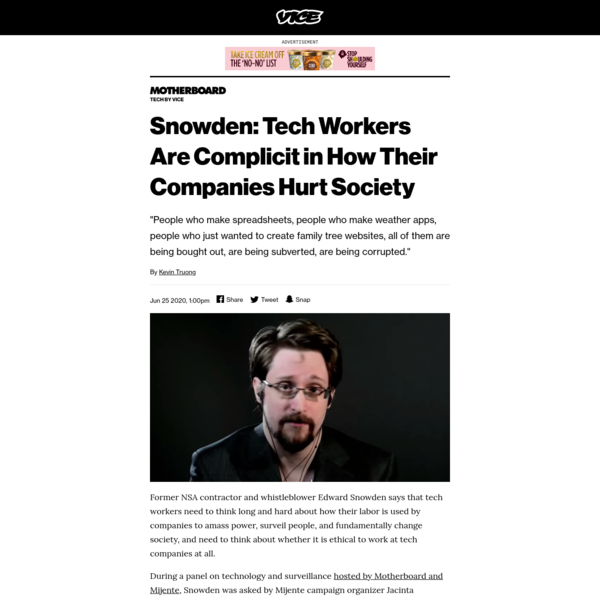 Snowden: Tech Workers Are Complicit in How Their Companies Hurt Society