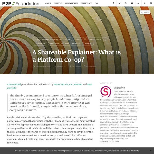 A Shareable Explainer: What is a Platform Co-op? | P2P Foundation