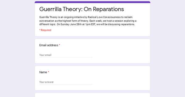 Guerrilla Theory: On Reparations