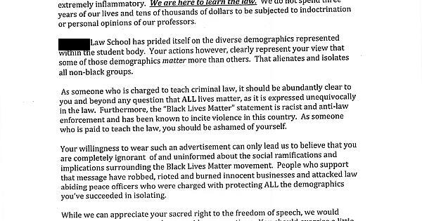 Law professor's response to student offended by their shirt
