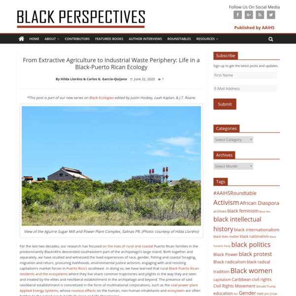From Extractive Agriculture to Industrial Waste Periphery: Life in a Black-Puerto Rican Ecology