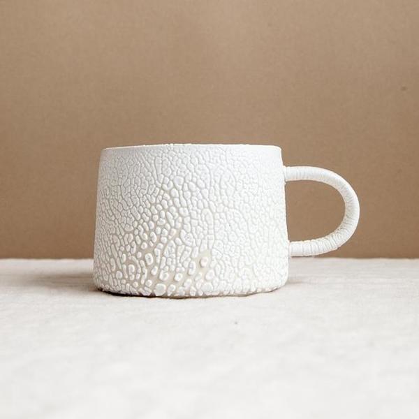 Glossy White Crawl Glaze Mug