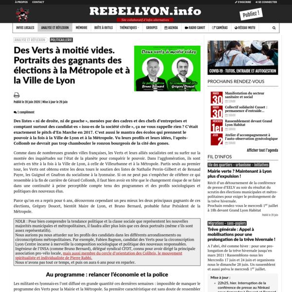 Des Verts à moitié vides. Portraits des gagnants des élections à la Métropole et à la Ville de Lyon - Rebellyon.info