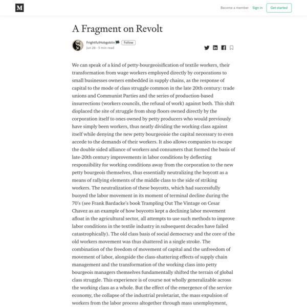A Fragment on Revolt