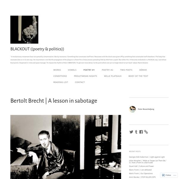 Bertolt Brecht | A lesson in sabotage