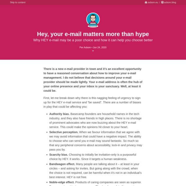 Hey, your e-mail matters more than hype * axbom.blog