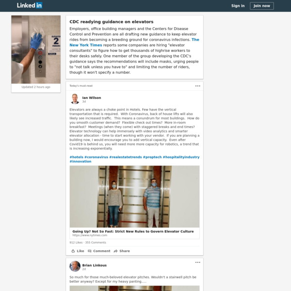 CDC readying guidance on elevators | LinkedIn
