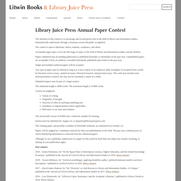 Library Juice Press Annual Paper Contest | Litwin Books & Library Juice Press