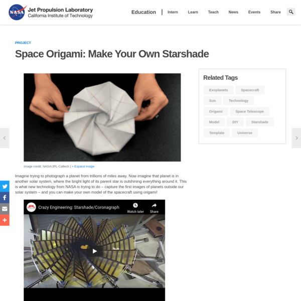Space Origami: Make Your Own Starshade Project | NASA/JPL Edu