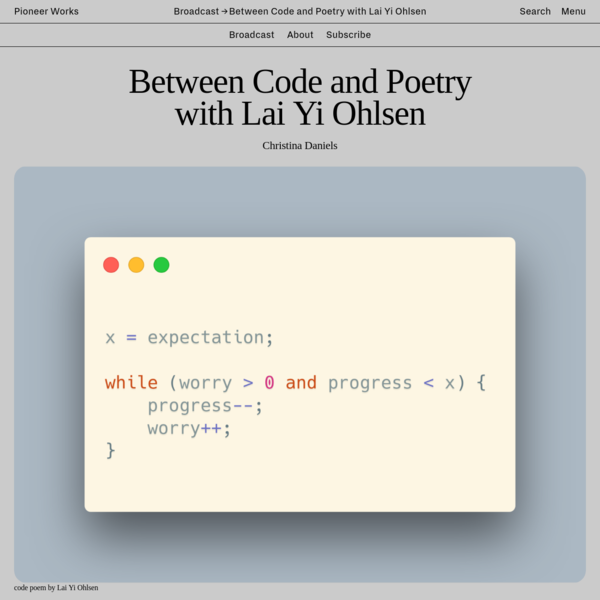 Between Code and Poetry with Lai Yi Ohlsen