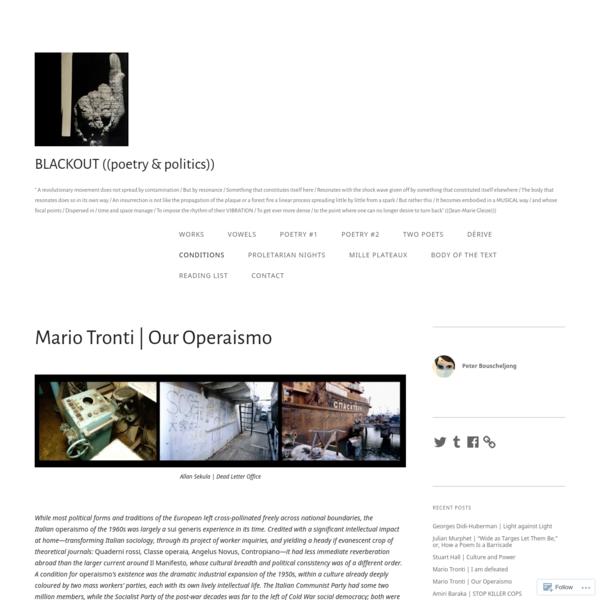 Mario Tronti | Our Operaismo