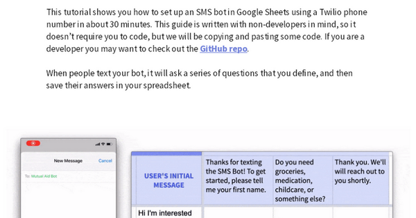 How to make an SMS bot with Google Sheets and Twilio (no coding)