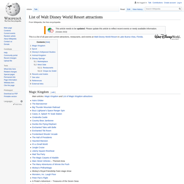 List of Walt Disney World Resort attractions