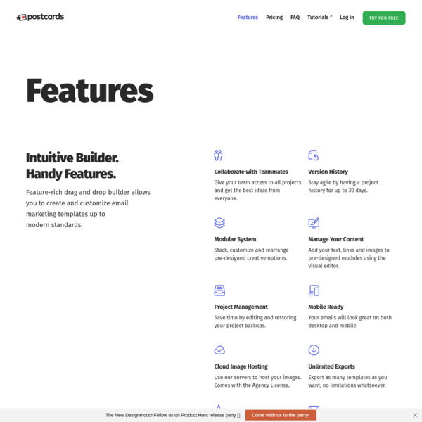 Postcards - Free HTML Email Template Builder with Drag & Drop