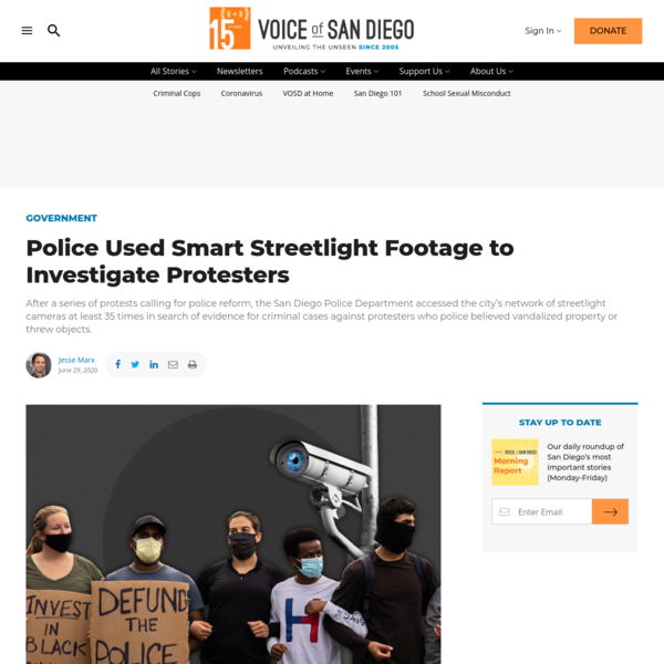 Police Used Smart Streetlight Footage to Investigate Protesters - Voice of San Diego