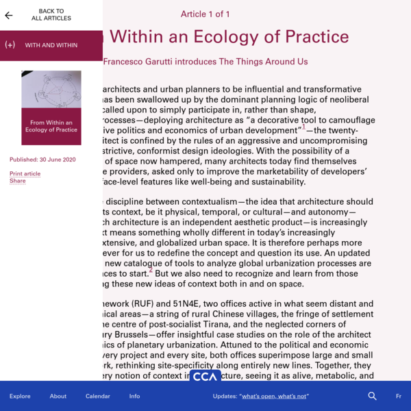 From Within an Ecology of Practice