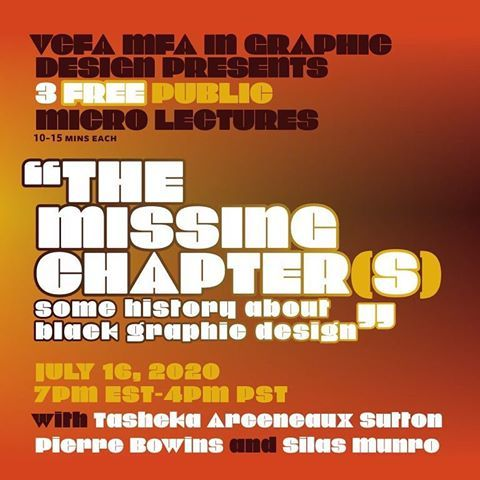 """👁👁Join @vcfadesign for three free public micro-lectures and a panel discussion """"The Missing Chapter(s): Some History About B..."""