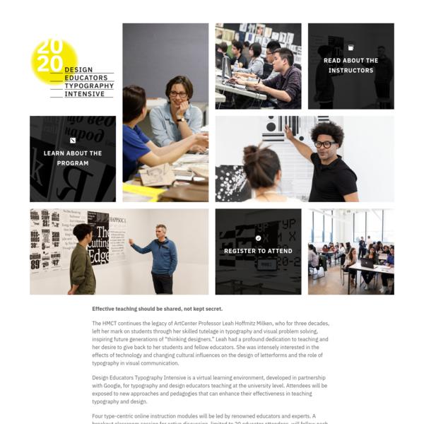 HMCT Design Educators Typography Intensive | Design Educators Typography Intensive