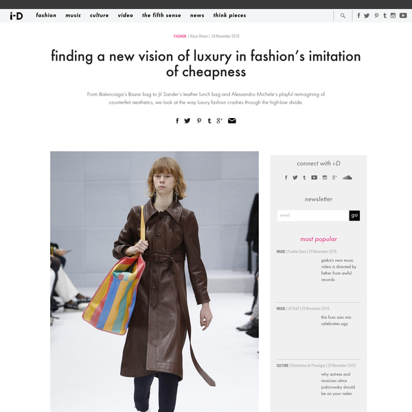 Balenciaga autumn/winter 16 Search for #balenciaga on Instagram, and next to stockpiles of leather bags, catwalk shots, and street style snaps, you can see a fashion meme in action; people are posting photos of stereotypical striped Taiwanese plastic market bags and hashtagging the brand.