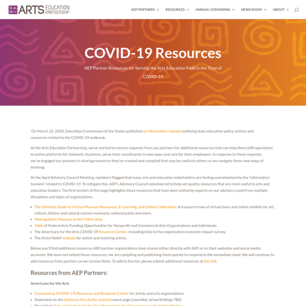 COVID-19 Resources-old - Arts Education Partnership