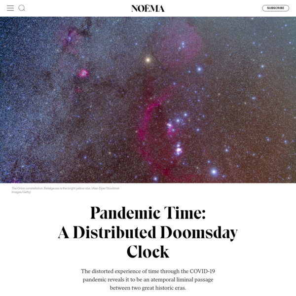 Pandemic Time: A Distributed Doomsday Clock - NOEMA