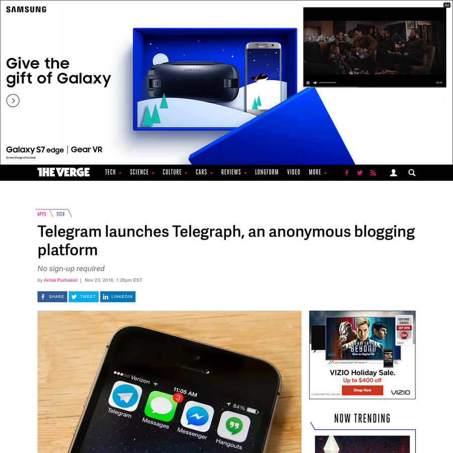 Telegram now has a blogging platform to go along with its popular messaging app. It's called Telegraph and, according to VentureBeat, offers fast publishing and anonymous posting - without...