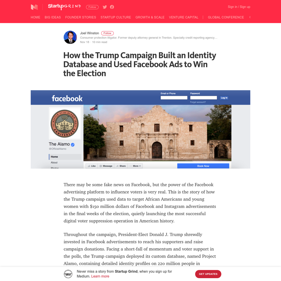 There may be some fake news on Facebook, but the power of the Facebook advertising platform to influence voters is very real. This is the story of how the Trump campaign used data to target African Americans and young women with $150 million dollars of Facebook and Instagram advertisements in the final weeks of the election, quietly launching the most successful digital voter suppression operation in American history.