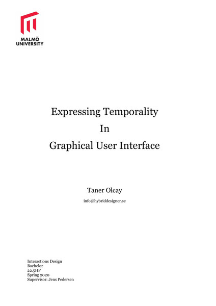 Expressing Temporality In Graphical User Interface