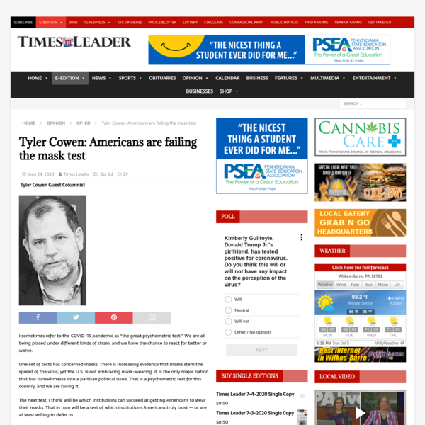 Tyler Cowen: Americans are failing the mask test | Times Leader