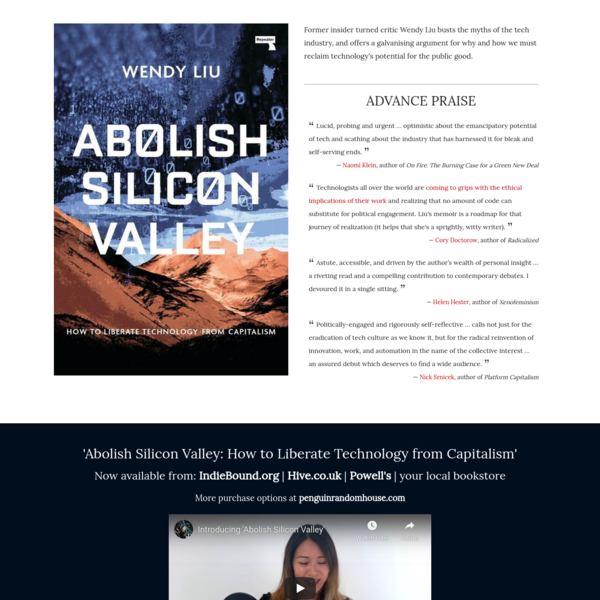 Abolish Silicon Valley, by Wendy Liu