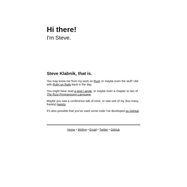Steve Klabnik's website
