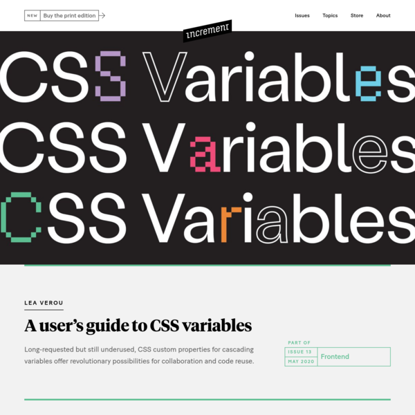 A user's guide to CSS variables - Increment: Frontend