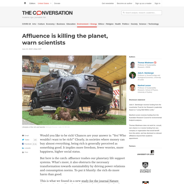 Affluence is killing the planet, warn scientists
