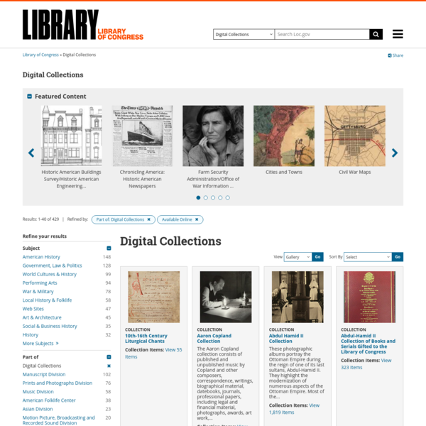 Search results from Digital Collections, Available Online