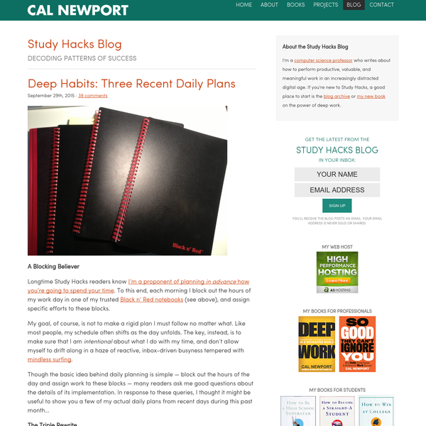 Deep Habits: Three Recent Daily Plans