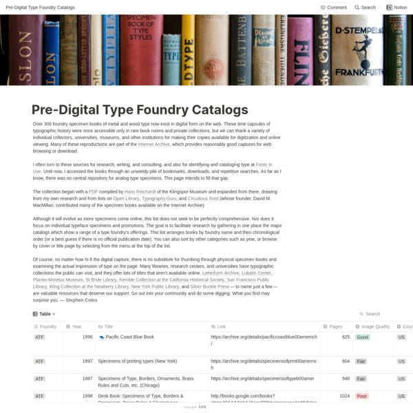 Pre-Digital Type Foundry Catalogs