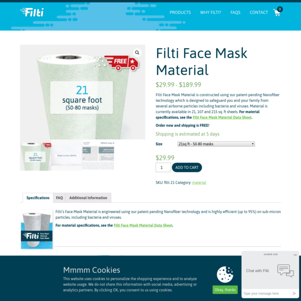 Filti Face Mask Material - Filti