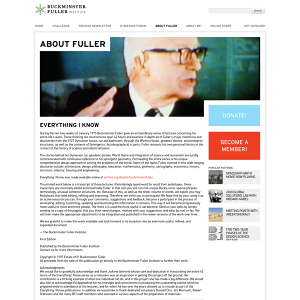 Everything I Know | The Buckminster Fuller Institute
