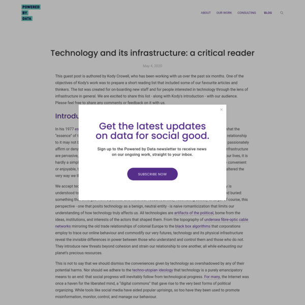 Technology and its infrastructure: a critical reader - Powered by Data