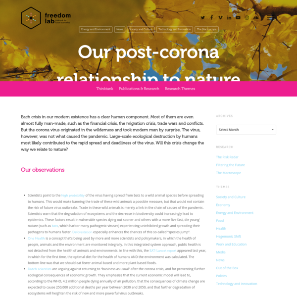 Our post-corona relationship to nature - FreedomLab