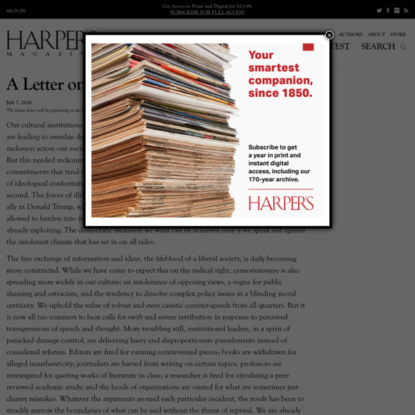 A Letter on Justice and Open Debate | Harper's Magazine