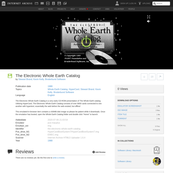 The Electronic Whole Earth Catalog : Stewart Brand, Kevin Kelly, Broderbund Software : Free Download, Borrow, and Streaming ...