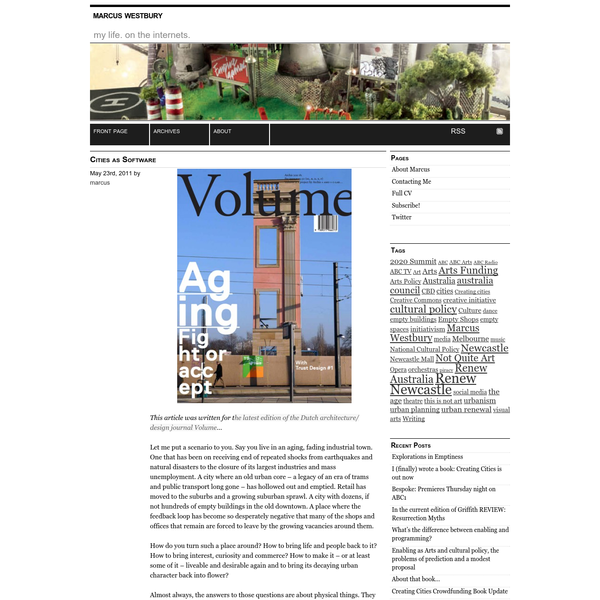 This article was written for the latest edition of the Dutch architecture/ design journal Volume... Let me put a scenario to you. Say you live in an aging, fading industrial town. One that has been on receiving end of repeated shocks from earthquakes and natural disasters to the closure of its largest industries and mass unemployment.